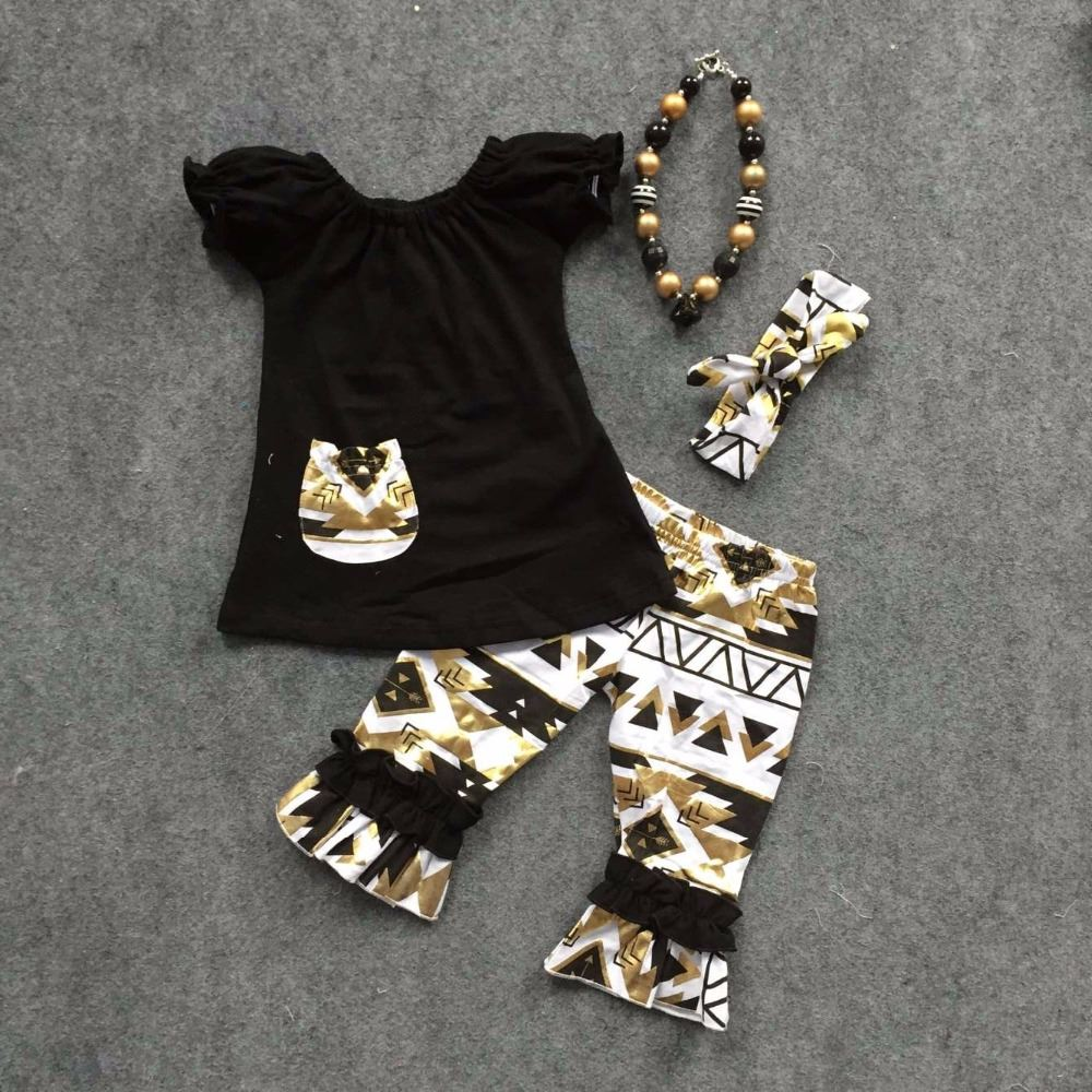 2016 new Girls Spring design short sleeves black shirt Aztec capri with matching headband and necklace set