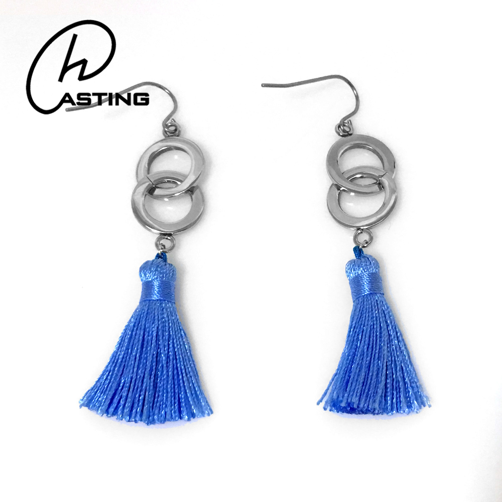 Wholesale Women 2017 Boho Long Tassel Earrings Silk Thread