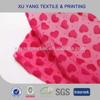 Fancy knitted fabric for underwear 2014 nylon spandex net mesh flocking with design love heart
