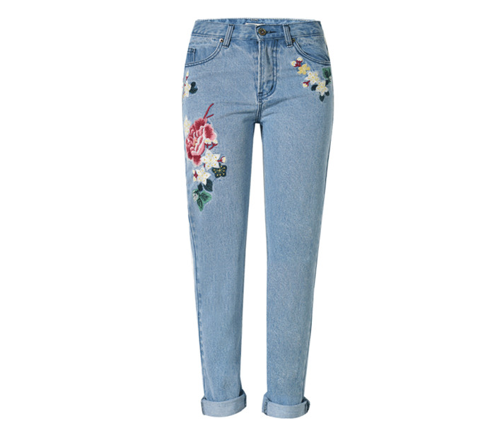 Wholesale flower embroidery women jeans light blue casual straight lady denim pants