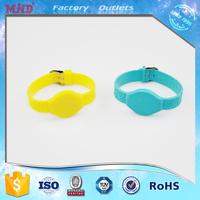 MDW12 Printing Adjustable Round Head RFID 125Khz T5577 Silicone Wrist Band Bracelet with Metal Buckle