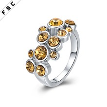 Wholesale cheap jewelry party supplies white gold plated rhinestone diamond ring for girls