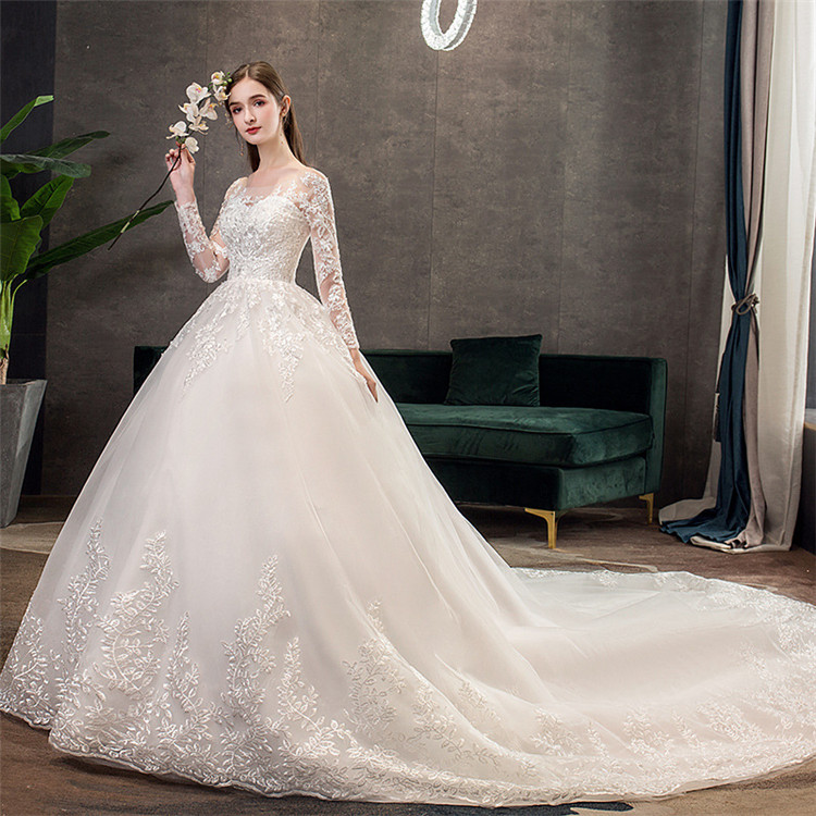 2019 Custom wedding dress bridal gown women sexy long sleeve wedding dress with tail