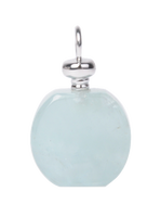 2016 Year's Unique Mother's Day Gift Round Sharp Aquamarine Perfume Bottle Pendant necklace wholesale