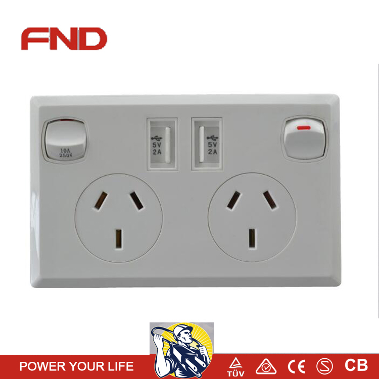 Australian standard 2 USB wall switch with SAA certification