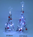 High quality Cold white light led glass christmas tree top with ornaments