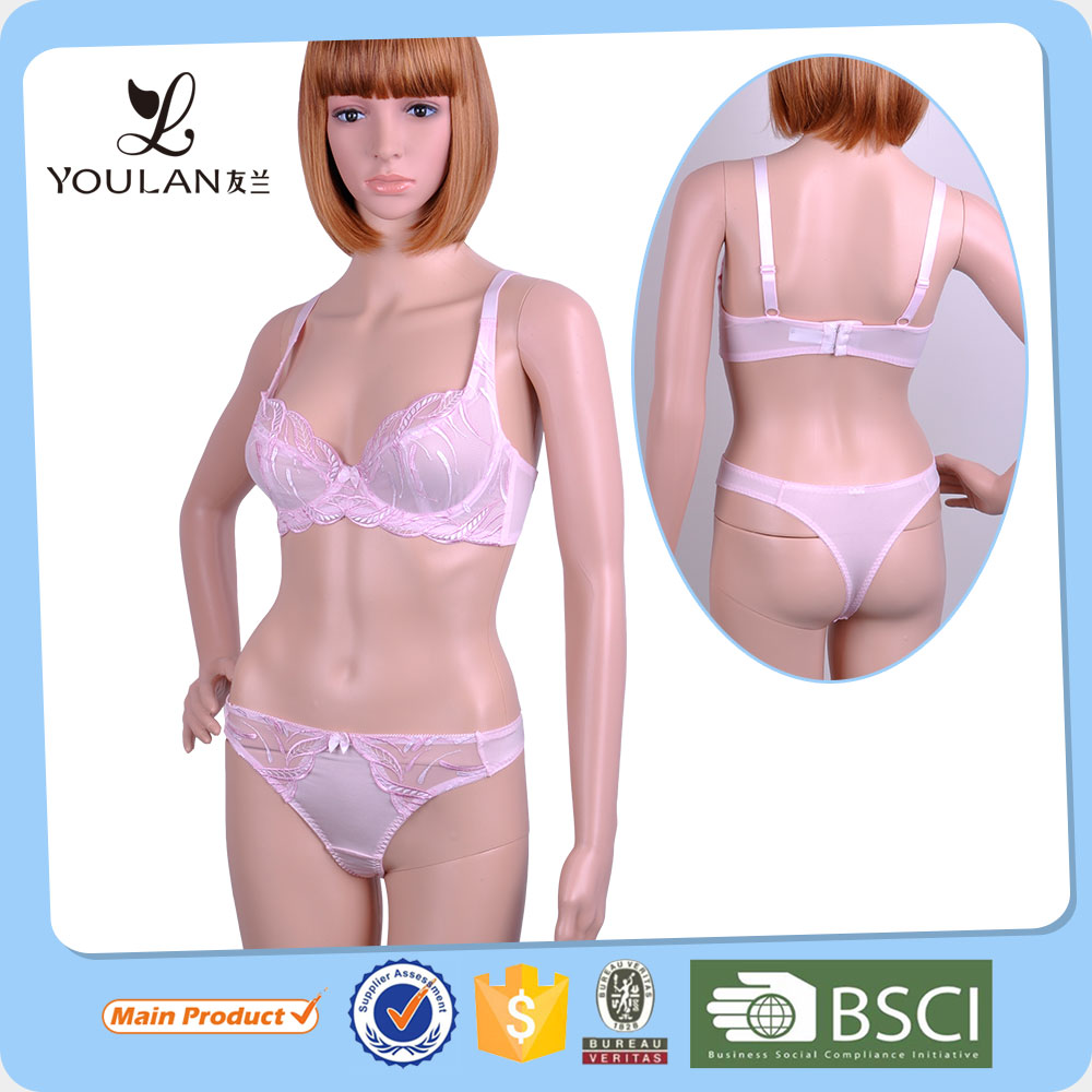 Hot Design Slimming Young Women Bowknot Fancy Bra And Panties Transparent Lace Panty Set