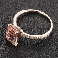 YCR7323 Emerald Cut Morganite Engagement Ring Pave Diamond Wedding 14k Rose Gold