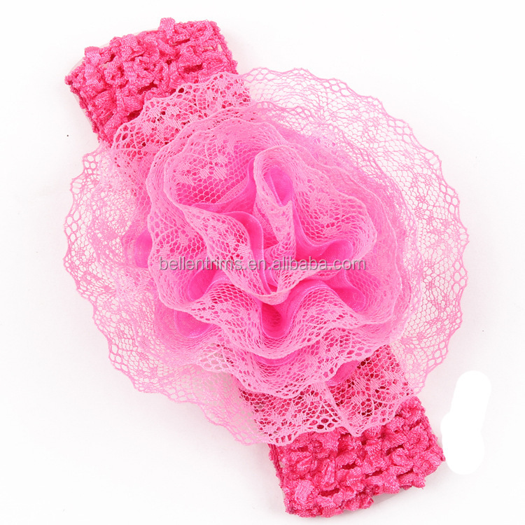 Baby Girl Crochet Headband Hair Bows Waffle Elastic Crochet Headband With Flower Clip