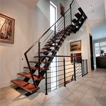 Used metal stainless steel railing solid wood stairs