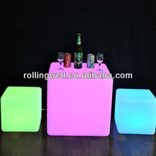 Glowing colorful 3d led lounge cube/led bar chair furniture/led nightclub stool