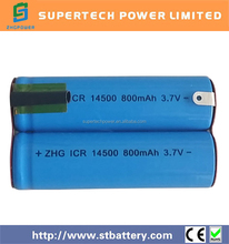 3.7v 800mah AA 14500 lithium ion battery