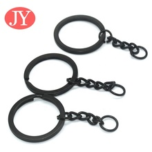 Jump Ring and Connector 30mm <strong>flat</strong> keyring matte black Metal Split Keychain Ring