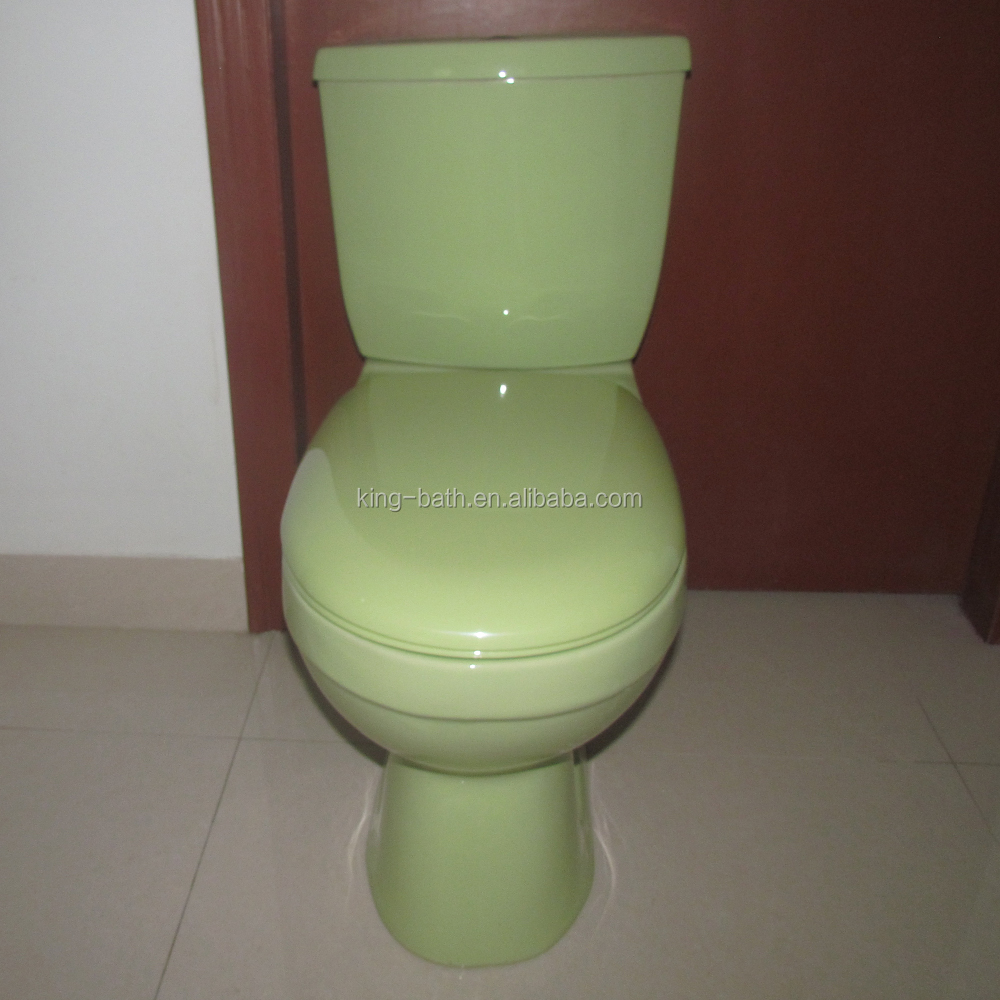 Green color washdown toilet colour sanitary ,Water closet made in China wc ceramic green toilet