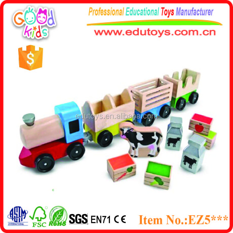 Children's Great Christmas Gift Non-toxic Painted Farm Transport Wooden Cute Train