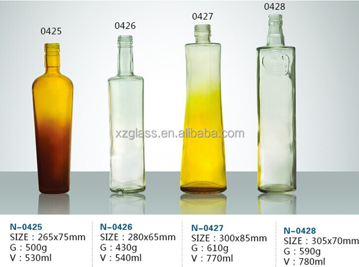 High Quality Yellow Glass Wine Bottle