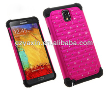 new stylish diamond hybrid cell phone case for samsung galaxy note 3
