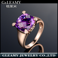 jewellery gold New Model Fashion Hallmarked S925 Silver Ring With Large purple Stone