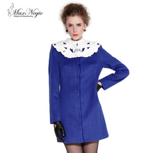 high end embroidery lace high collar above knee long cashmere ladies overcoat designs 1-63124