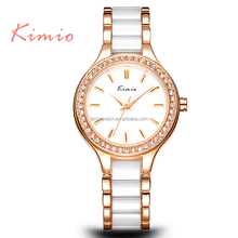 Hot Selling KIMIO Fashion Imitation Ceramic Watch Band Gold Plating Lady Wrist Watches