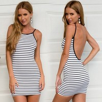 Cheap Lady Women Casual Off-shoulder Strap Hip Package Classy Backless Sexy Strip Dresses SV018273