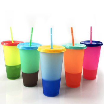 Reusable 700ml plastic mood cup BPA free cold color changing mug with lid and straw