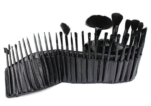 2014 Hot 32 PCS Black Luxury Make up Brushes Horse Hair Wood Makeup Brushes Tools Set