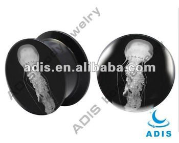 Fashion Internally Thread epoxy wholesale acrylic custom printed ear plugs