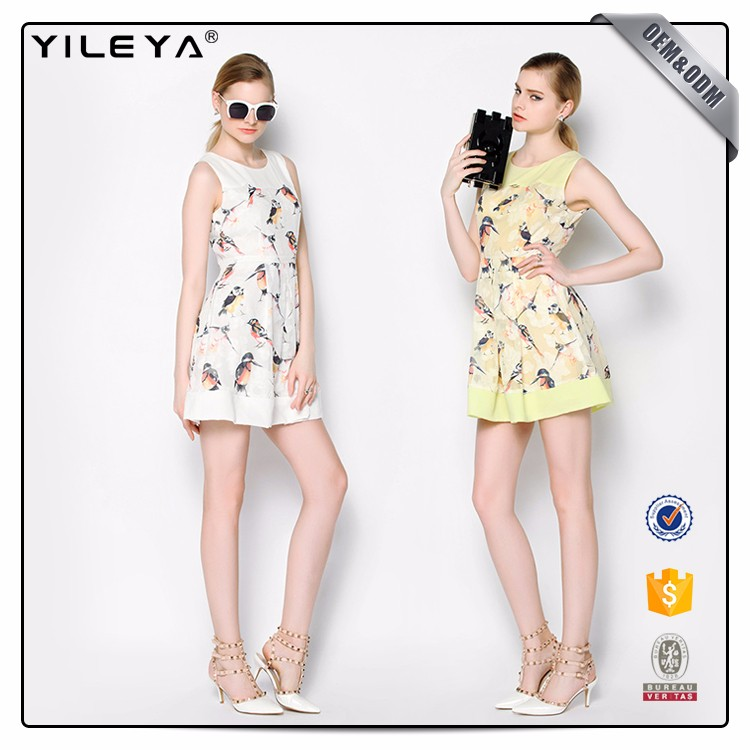 Oem Pattern Printing 2016 Fashion New Design Ladies Dress