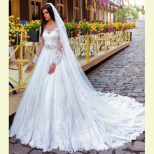FA08 Vestidos De Novia Lace Wedding Dress Full Sleeves A-line Vintage Bridal Gowns With Crystal Belt Made in China Casamento