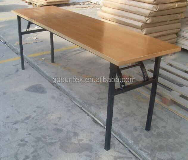 wooden long folding restaurant table and benches