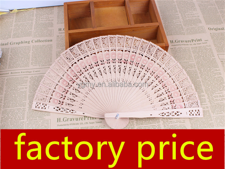Vintage Folding Bamboo Hand Fans Wooden Hollow Carved Wedding Dancing Decor Sandalwood Fan