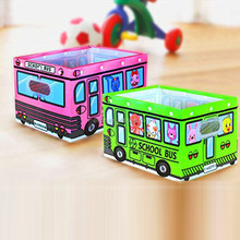 Bus Car printed Fabric for Kids storage container home use straw basket with dividers