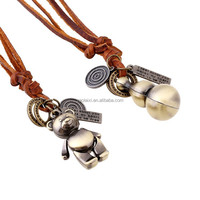 Anti-Oxidation cute bear and Gourd shape punk style leather necklace for men