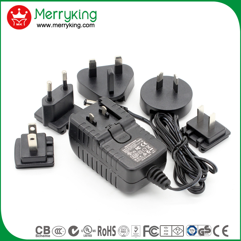 interchangeable universal travel adaptor 12v 1.5a 18w switching power supply adapter