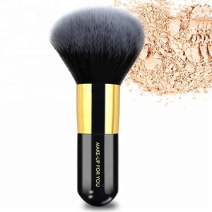 Professional rose gold single large round head face mineral powder brush with soft synthetic hair