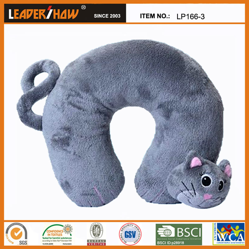 cat shaped neck beads cushion /Cartoon Kawaii U-shape Travel Pillow for Airplane, Bus, Train, Car or Home Use