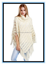 2016 wholesale price handmade 100% acrylic soft autumn winter white hollow out knitted triangle cape for ladies