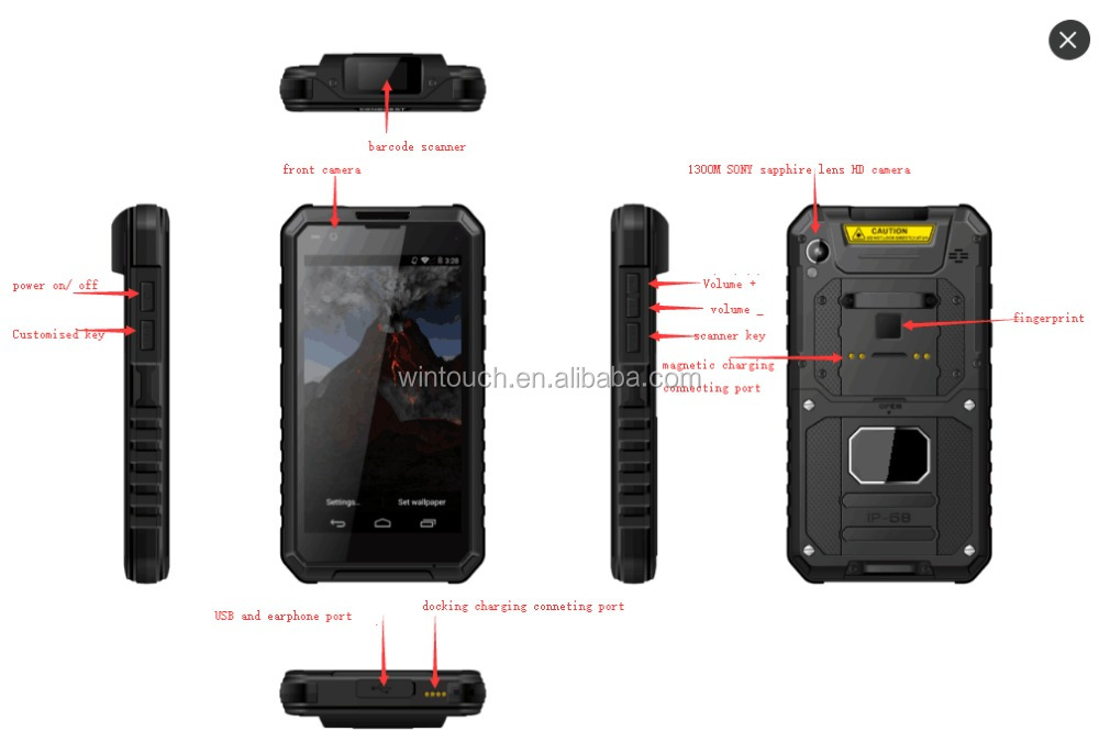 android 4g lte usa band phone 5.5inch FHD qr code atex ex barcode and RFID fingerprint atex