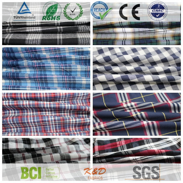 cheap cotton twill plaid check clothing dress shirting fabric from china suppiler