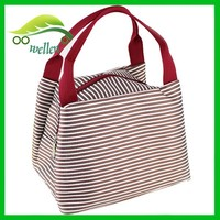 Women Insulated Lunch Bag Taste Tote Tag Stripe Portable Lunch Bag