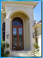 Cast stone decorative arch door frame