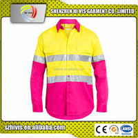 New women work hi vis wholesale reflective pink safety shirts
