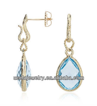 Blue Topaz Teardrop Earrings thai solid gold jewelry marks