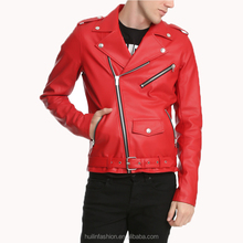 mens wholesale clothing china asymmetric zip front red PU moto leather jacket