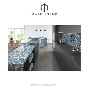 luxury kitchen design backlit blue agate countertop for sale