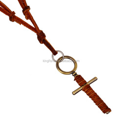 Vintage design handmade braided leather cord cross necklace for men and women wholesale