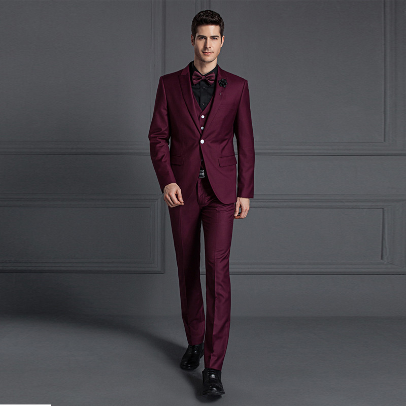 guangzhou clothing factory men red suit 3 piece suit wedding