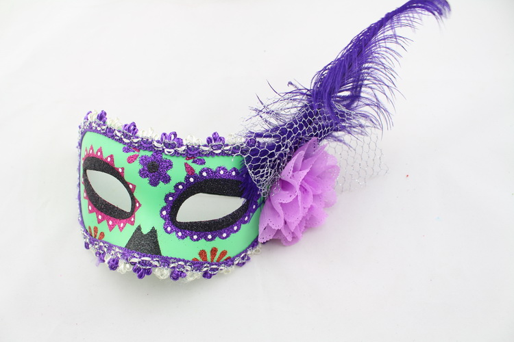 masquerade party unique colorful Flower Venetian Half Face feather masks for female