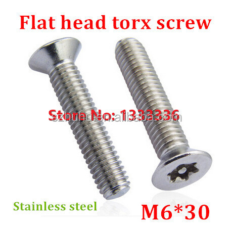50pcs M6*30 Countersunk Head <strong>Torx</strong> <strong>Screw</strong> 6-Lobe Bolt / Security Anti-theft with Pin Flat Machine <strong>Screws</strong> with Free <strong>Torx</strong> Key
